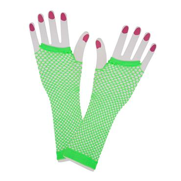 Neon Green 80s Net Gloves (Long)