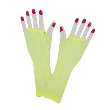 Neon Yellow 80s Net Gloves (Long)