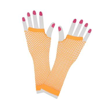 Neon Orange 80s Net Gloves (Long)