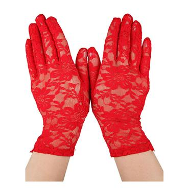 Ladies Lace Gloves - Red