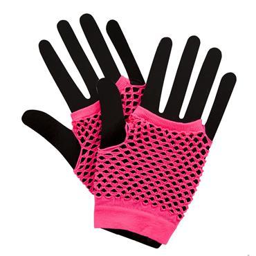 80's Net Gloves - Neon Pink