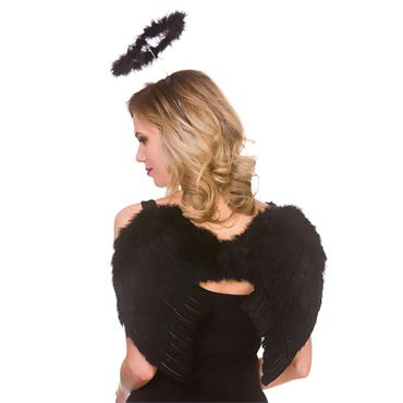 Feather Wings & Halo Set Black