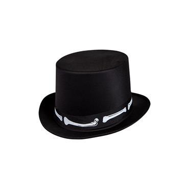 Satin Top Hat with Bones