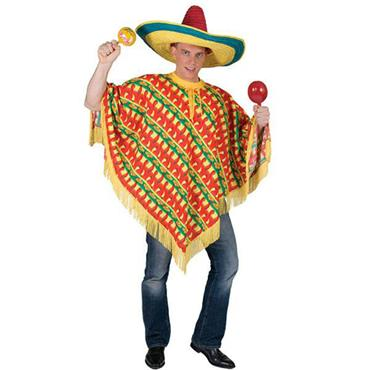 Adult Mexican Amigo Fiesta Chilli Pepper Print Poncho