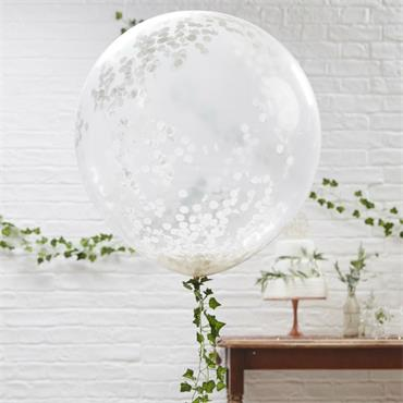 "Large 36"" White Confetti Balloon"
