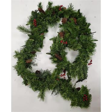 Pre-Lit Deluxe Country Christmas Garland - 2.5cm