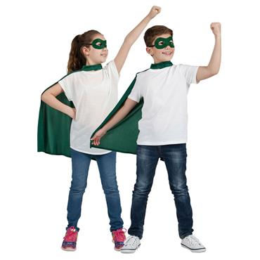 Super Hero Cape & Mask Green