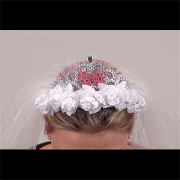 Flashing Bride to Be Tiara with Veil and Roses