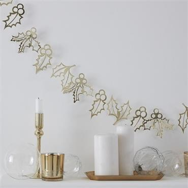 Gold Holly Christmas Bunting