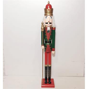 3.5ft Wooden Green Christmas Nutcracker