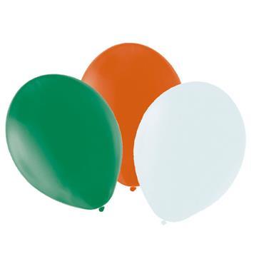 "Green, White & Orange Latex Balloons 12"""