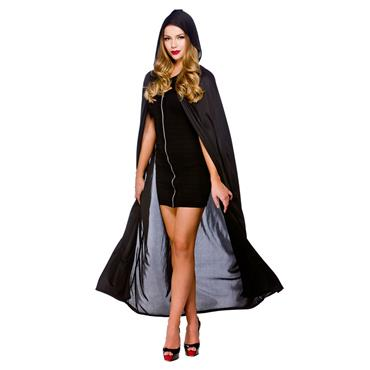 Cape With Hood - Black 52""
