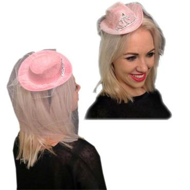 Mini Pink Cowboy Hat with Veil