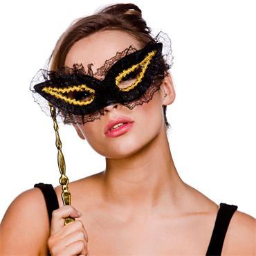 Eyemask With Handle - Gold/black Lace
