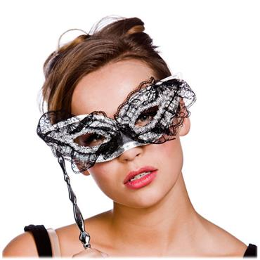 Eyemask With Handle - Silver/black Lace