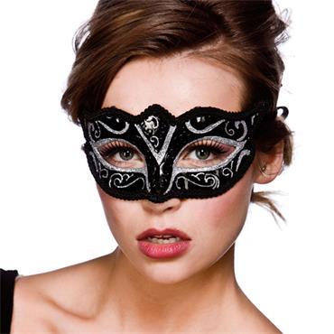 Verona Eyemask - Black W/ Silver Glitter