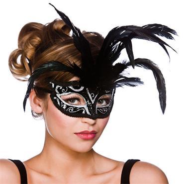 Milano Eyemask - Black W/ Silver Glitter