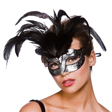 Firenze Eyemask - Silver With Black Glitter
