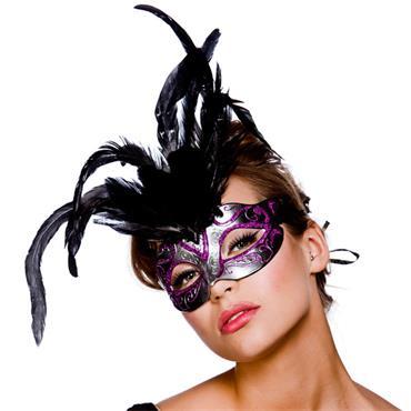 Firenze Eyemask - Silver With Purple Glitter