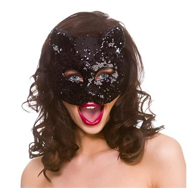 Black Glitter Cat Mask