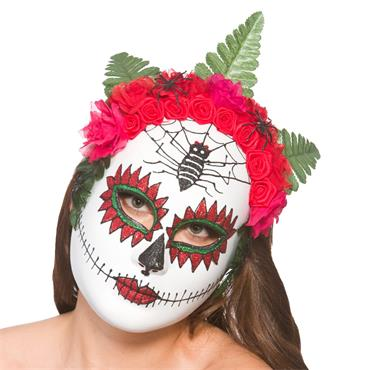 Day Of The Dead Mask W/ Flower