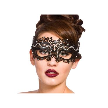 Metal L/cut Eye Mask - Matt Black / Diamantes