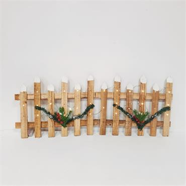 Pre-Lit Natural Wood Christmas Picket Fencing - 1m x 30cm