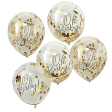 Printed Gold Confetti Balloons - Oh Baby!