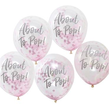 About to Pop Printed Pink Confetti Balloons - Oh Baby!