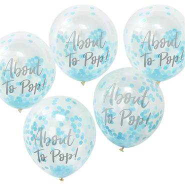 About to Pop Printed Blue Confetti Balloons - Oh Baby!