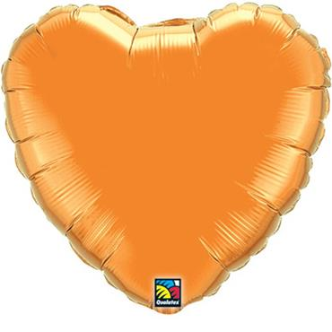 "Orange Heart Foil Balloon 18"""