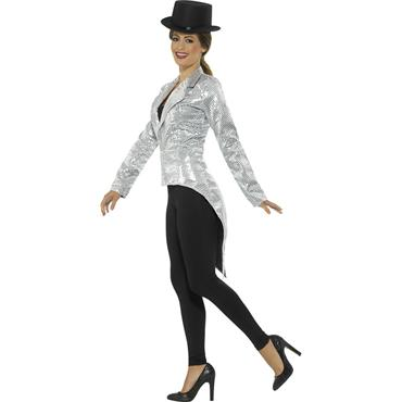 Sequin Tailcoat Jacket - Silver