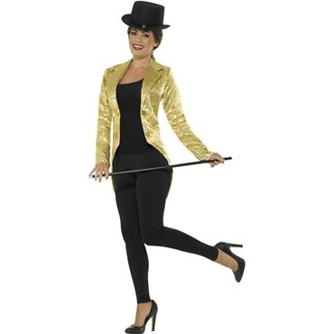 Sequin Tailcoat Jacket - Gold