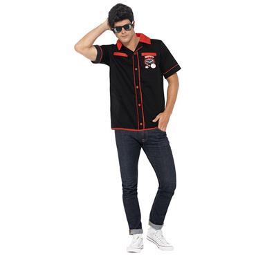 Rockabillly Bowling Shirt,Black