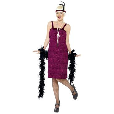Jazz Flapper Dress Costume - Burgundy