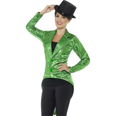 Sequin Tailcoat Jacket - Green