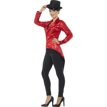 Sequin Tailcoat Jacket - Red