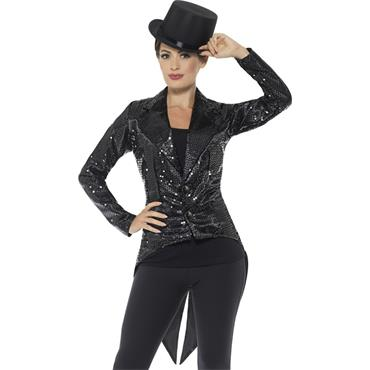Sequin Tailcoat Jacket - Black