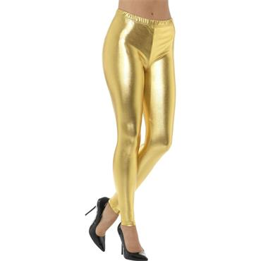 80s Metallic Disco Leggings - Gold