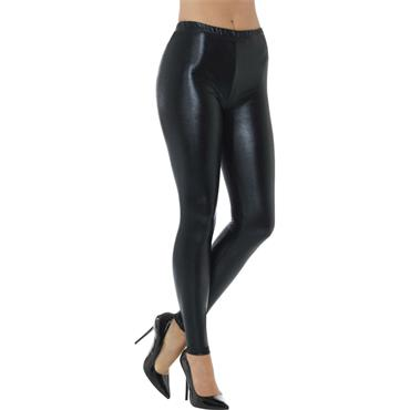 80s Metallic Disco Leggings - Black
