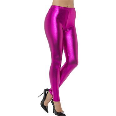 80s Metallic Disco Leggings - Pink