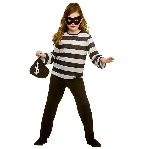Childs Sneaky Robber Thief Fancy Dress Costume Halloween Burglar Girls Boys
