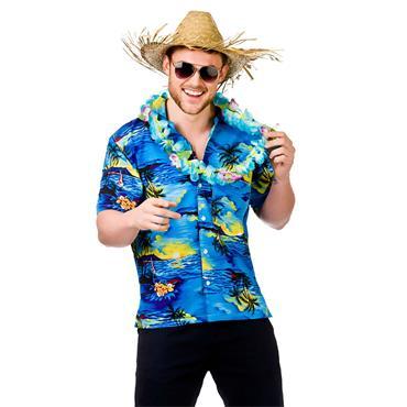 Hawaii Shirt Blue Palm Trees