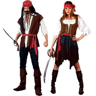 Caribbean Pirate & Caribbean Woman Couples Costumes