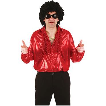 70's Ruffle Shirt - Metallic Red