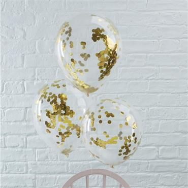 Gold Confetti Filled Balloons - Pick n Mix