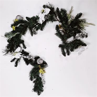 White Ponchita Christmas Garland - 2.5cm