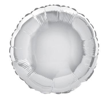"Silver Round Foil Balloon 18"""