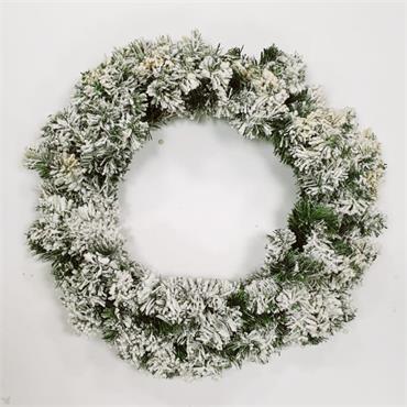 Traditional Snow Christmas Wreath - 55cm