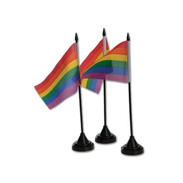 Pride Rainbow Tableflags & Bases (12 pk)